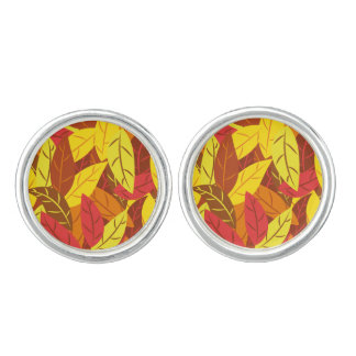 Autumn pattern colored warm leaves cuff links