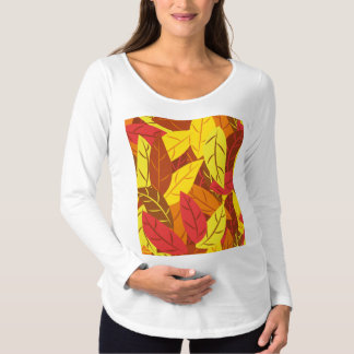 Autumn pattern colored warm leaves maternity T-Shirt
