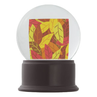 Autumn pattern colored warm leaves snow globes