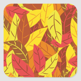 Autumn pattern colored warm leaves square sticker