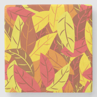 Autumn pattern colored warm leaves stone coaster