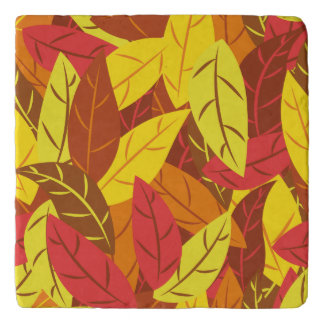 Autumn pattern colored warm leaves trivet