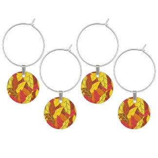 Autumn pattern colored warm leaves wine glass charms