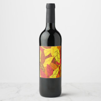 Autumn pattern colored warm leaves wine label