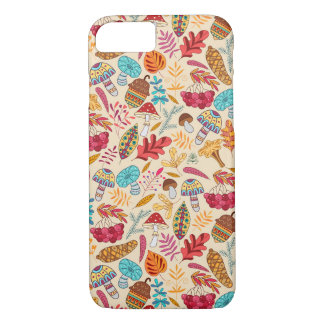 Autumn pattern with leaves, mushrooms, acorns iPhone 7 case