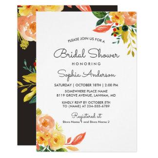 Autumn Peach Floral Seasonal Bridal Shower Card