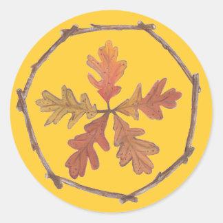 Autumn Pentagram Classic Round Sticker