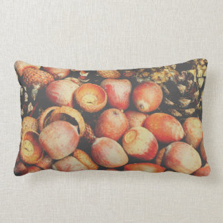 Autumn pillow with a photo of cones & acorns