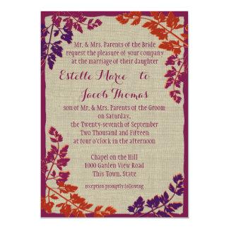 """Autumn Plum and Orange Rustic Leaf 5"""" X 7"""" Invitation Card"""