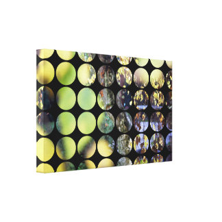 Autumn Polka Dots Golden Branches + Leaves Gallery Wrap Canvas