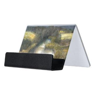 autumn pond desk business card holder