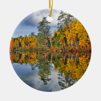 Autumn pond reflections, Maine Ceramic Ornament