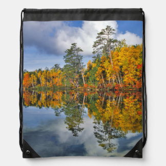 Autumn pond reflections, Maine Drawstring Bag