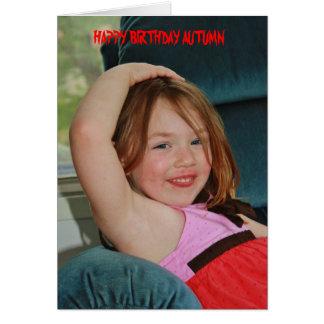 Autumn Posing Birthday Card