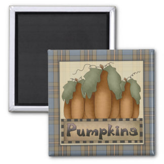 Autumn Primsies · Pumpkins Square Magnet
