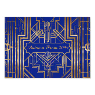 Autumn Prom invitation, gold, blue, Gatsby V3 Card