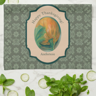 Autumn Pumpkin and Leaf Personalized Thanksgiving Tea Towel