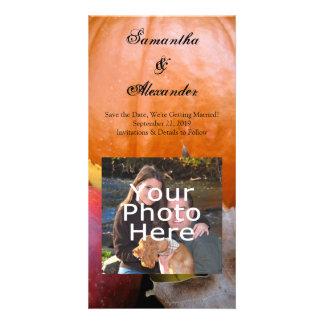 Autumn Pumpkin, Apple and Colorful Leaves Custom Photo Card
