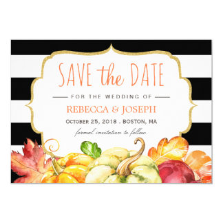 Autumn Pumpkin Maple Leaves Fall Save the Date Card