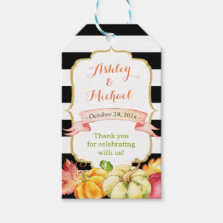 Autumn Pumpkin Maple Leaves Fall Wedding Thank You Gift Tags