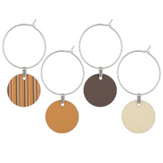 Autumn Pumpkin Spice Striped Colors Wine Glass Charms
