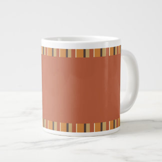 Autumn Pumpkin Spice Stripes with Brick Red Jumbo Mug