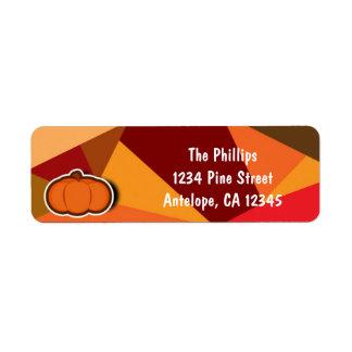 Autumn Pumpkin Thanksgiving Fall Invitation Return Address Label