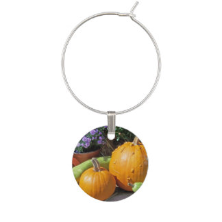 Autumn Pumpkins and Flowers Wine Charm