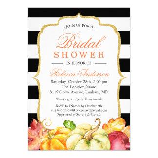 Autumn Pumpkins Maple Leaves Fall Bridal Shower 13 Cm X 18 Cm Invitation Card