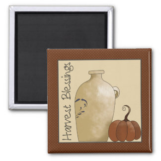 Autumn Pumpkins · Pottery Jug & Pumpkin Square Magnet