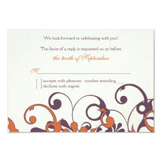 Autumn Purple Orange Floral Wedding RSVP Reply 9 Cm X 13 Cm Invitation Card