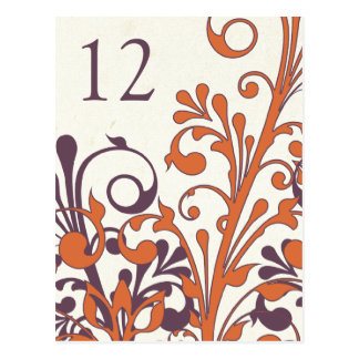 Autumn Purple Orange Floral Wedding Table Card