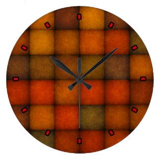 Autumn Quilt by Julie Everhart Large Clock