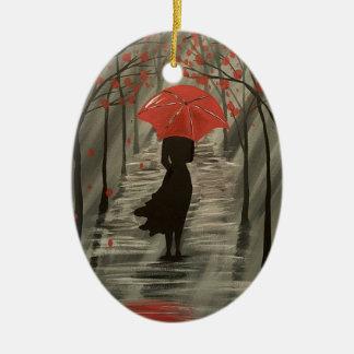 Autumn Rain Red Umbrella Ornament