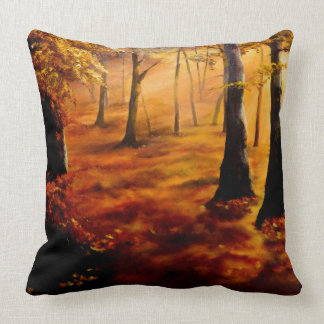 Autumn red and gold throw cushion