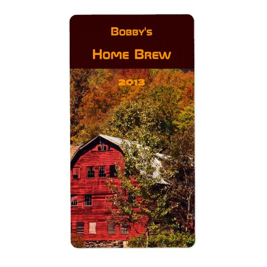 Autumn Red Barn Beer Label Shipping Label
