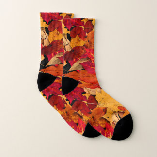 Autumn Red Brown Yellow Orange Pattern Socks 1