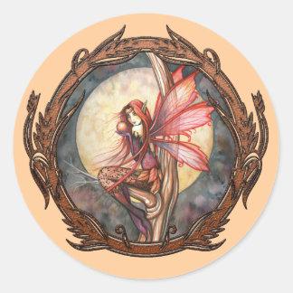Autumn Red Fairy Fantasy Art Stickers