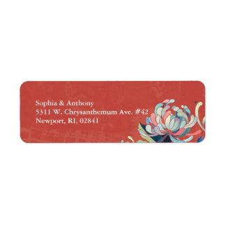 Autumn Red Floral Wedding Return Address Return Address Label