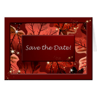 Autumn Red Maple Leaves Save the Date Custom Note Card