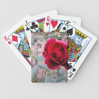 Autumn red rose bicycle playing cards