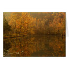 Autumn reflections on pond. card