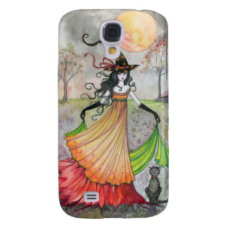 Autumn Reverie Witch and Cat Halloween Art Samsung Galaxy S4 Case