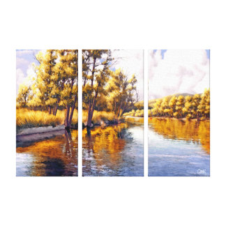 Autumn River Scenery Painting Canvas Prints