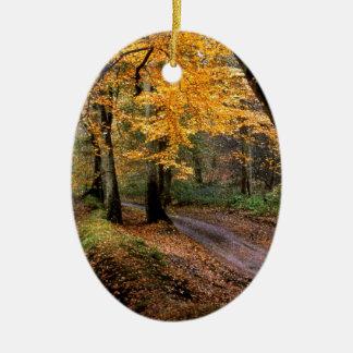 Autumn Road Less Traveled Ceramic Ornament