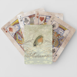 AUTUMN ROBIN Fall Branches Bicycle Playing Cards