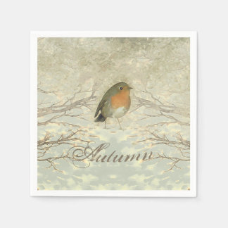 AUTUMN ROBIN Fall Branches Paper Serviettes