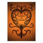 Autumn romance elegant black scrollwork heart custom invitations