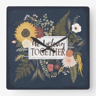 Autumn Romance IV   We Belong Together Square Wall Clock