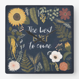 Autumn Romance VI   The Best is Yet To Come Square Wall Clock